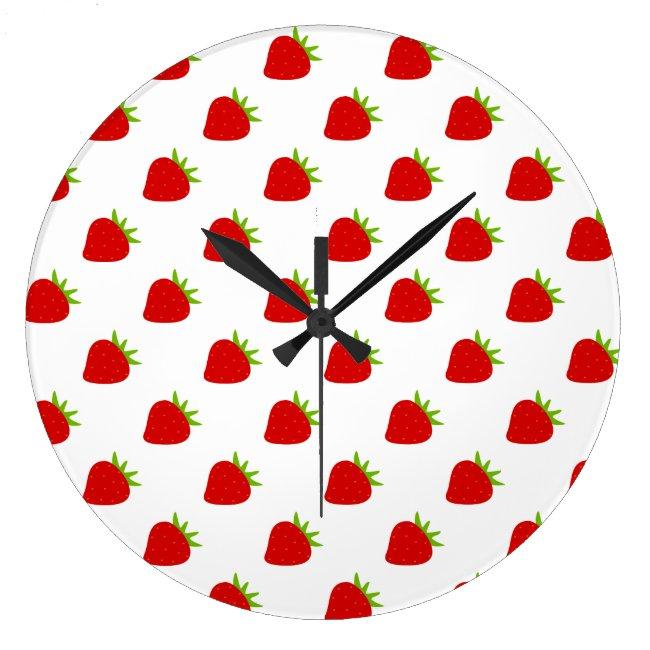 Cute Strawberry Pattern Kitchen Wall Clock