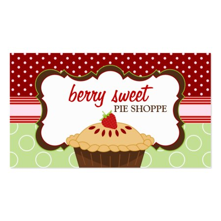 Cute Colorful Red Green and Brown Pie Shop Business Cards