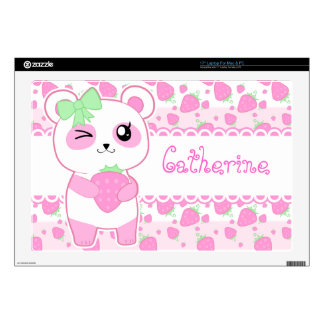 "Cute Strawberry pink Kawaii Panda bear 17"" Laptop Skin"