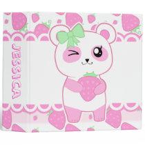 Cute Strawberry pink Kawaii Panda bear 3 Ring Binder