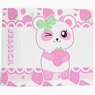 Cute Strawberry pink Kawaii Panda bear 3 Ring Binder