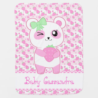 Cute Strawberry pink Kawaii Panda bear Baby Blanket