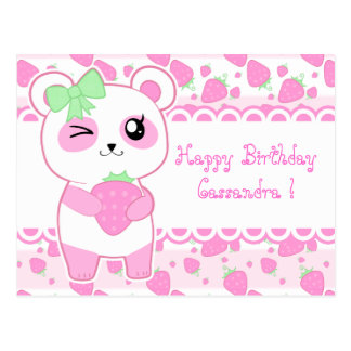 Cute Strawberry pink Kawaii Panda bear birthday Postcard
