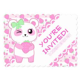 Cute Strawberry pink Kawaii Panda bear Card