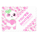 Cute Strawberry Pink Kawaii Panda Bear Card at Zazzle