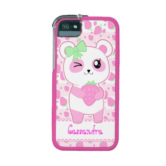 Cute Strawberry pink Kawaii Panda bear Case For iPhone 5/5S