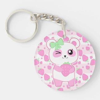 Cute Strawberry pink Kawaii Panda bear Double-Sided Round Acrylic Keychain