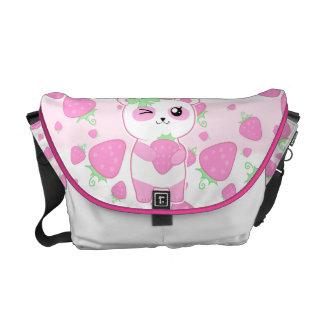 Cute Strawberry pink Kawaii Panda bear Messenger Bags
