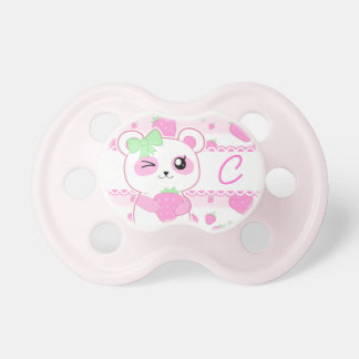 Cute Strawberry pink Kawaii Panda bear monogram Pacifier