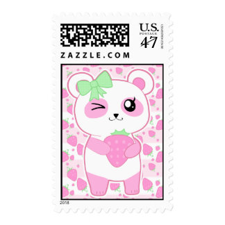 Cute Strawberry pink Kawaii Panda bear Postage Stamp