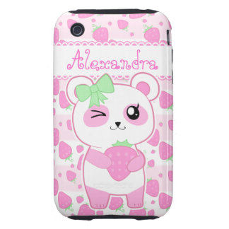 Cute Strawberry pink Kawaii Panda bear Tough iPhone 3 Cover
