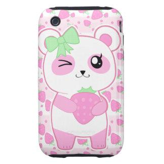Cute Strawberry pink Kawaii Panda bear Tough iPhone 3 Covers