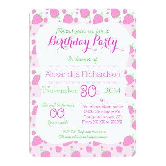 Cute Strawberry pink Kawaii Panda birthday party Card