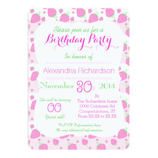 Cute Strawberry pink Kawaii Panda birthday party Personalized Announcement