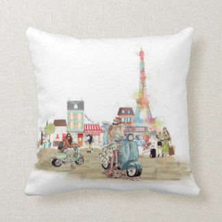 Cute Streets of Paris collage sketch Throw Pillow