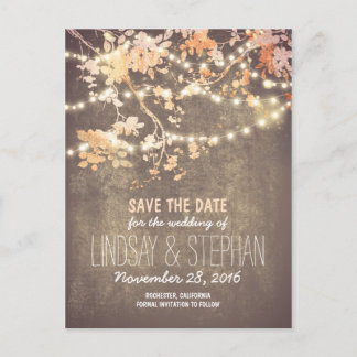 cute string lights rustic save the date postcards