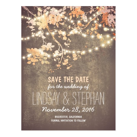 cute string lights rustic save the date postcards | Zazzle