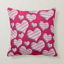Cute Stripe Hearts on Pink Throw Pillow