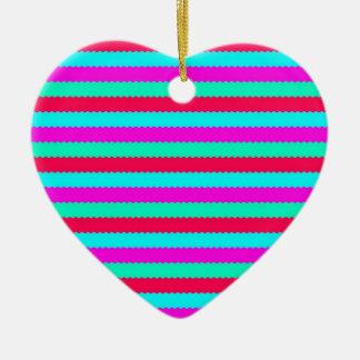 Cute Stripe Pattern Red, Pink, Teal Ceramic Ornament