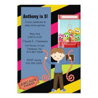 Cute, Striped, Arcade Birthday Boyl Invitation
