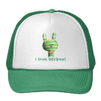 Cute Striped Bunny Trucker Hats