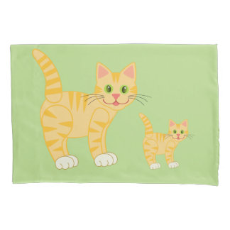 Cute Striped Cartoon Cat and Kitty Custom Color Pillowcase