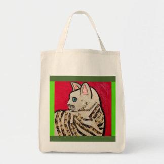 Cute Striped Cat Grocery Tote Bag
