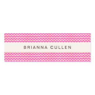 Cute Striped Girly Pink & Peach Chevron Modern Mini Business Card