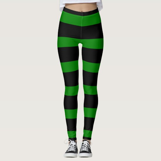 Cute Striped Pattern in Black and Kelly Green Leggings