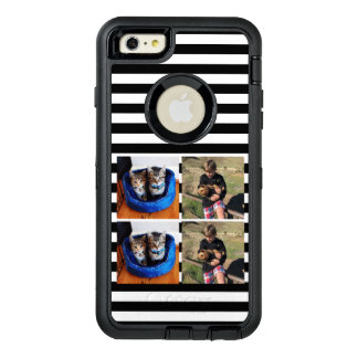 Cute striped photo collage OtterBox defender iPhone case