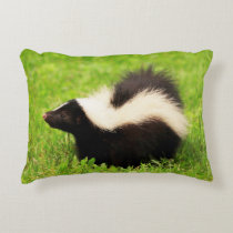 Cute Striped Skunk Accent Pillow