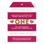 Cute Stripes & Glitter Look First Birthday Party 5x7 Paper Invitation Card