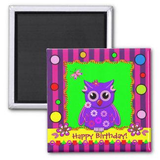 Cute stripes, polka dots, owl, Birthday magnet