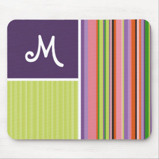 Cute Stripes Purple Green Mouse Pad