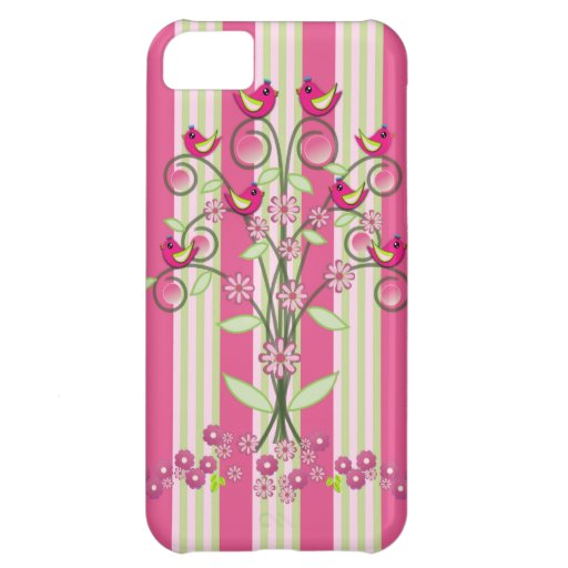 Cute stripes & swirling tree with birds case for iPhone 5C