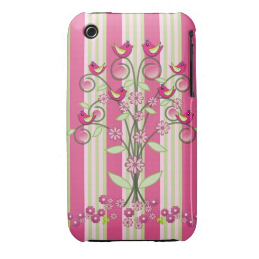 Cute stripes & swirling tree with birds iPhone 3 covers