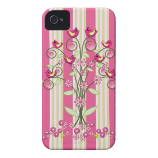 Cute stripes & swirling tree with birds iPhone 4 Case-Mate case