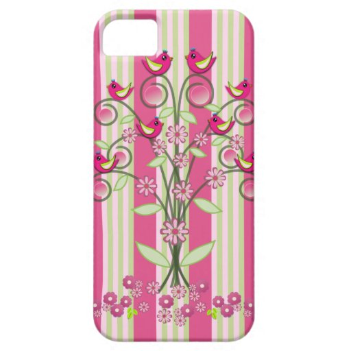 Cute stripes & swirling tree with birds iPhone 5 covers