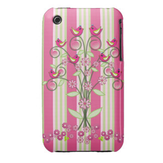 Cute stripes & swirling tree with birds iPhone 3 Case-Mate cases