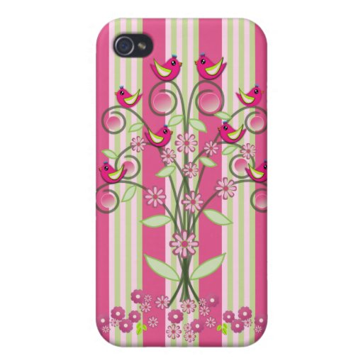 Cute stripes & swirling tree with birds iPhone 4 cases