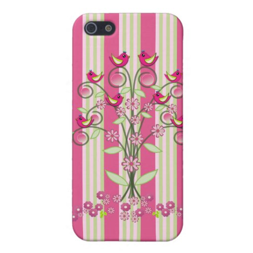 Cute stripes & swirling tree with birds covers for iPhone 5