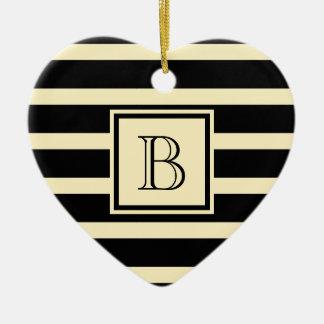 Cute Stripes w Monogram Black & Cream Ceramic Ornament