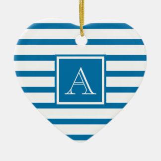 Cute Stripes w Monogram Slate Blue & White Double-Sided Heart Ceramic Christmas Ornament