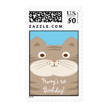 Cute Stripey Cat First Birthday Custom Postage