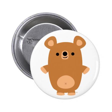 Cute Strong Cartoon Bear button badge