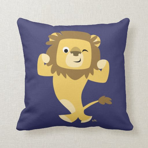 Cute Lion Pillow : Cute Strong Cartoon Lion Throw Pillow Zazzle