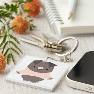 Cute Strong Cartoon Pig Acrylic Keychain