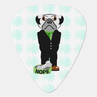 Cute, Stubborn Pug with Flower Pattern Guitar Pick