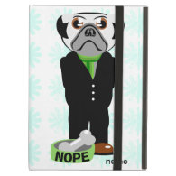 Cute, Stubborn Pug with Flower Pattern Case For iPad Air