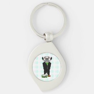 Cute, Stubborn Pug with Flower Pattern Keychain